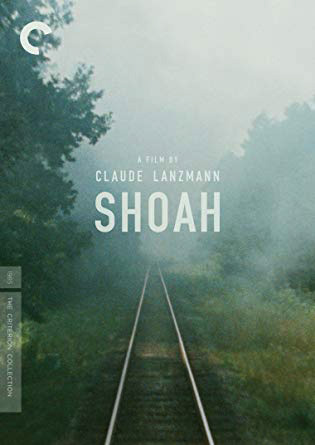 "Cover of the film Shoah, showing a railroad track in the mist and the words ""A film by Claude Lanzmann"" superimposed."