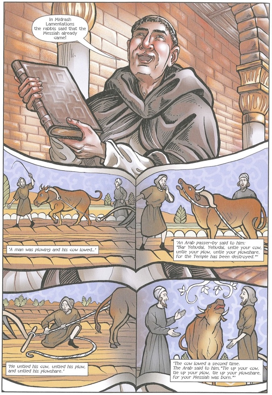 Page from a comic book showing a man holding a book and then several frames of two men and an ox.