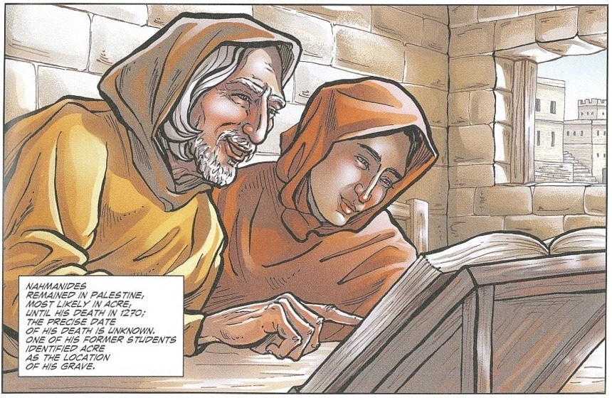 Comic book image of two men studying a text.