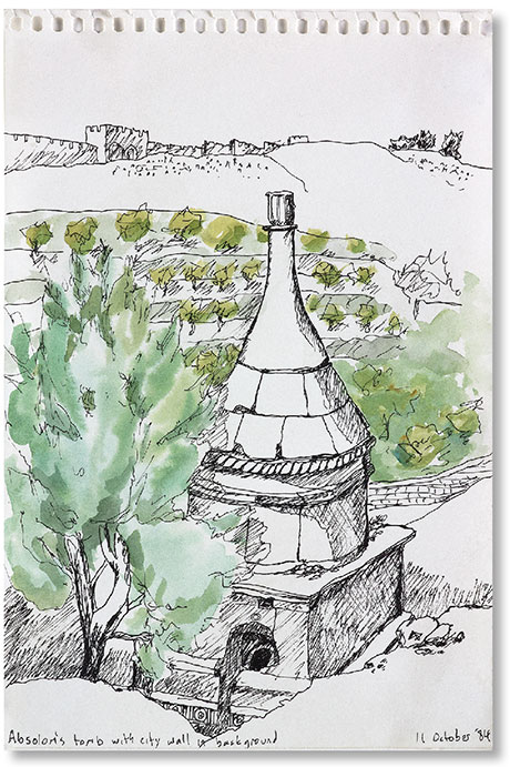 Sketch of a tomb with the city in the background