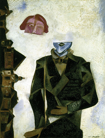 Painting of man with head cut in half and floating above body