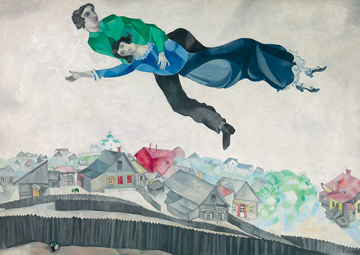 Painting of a man holding a woman flying over a cityscape