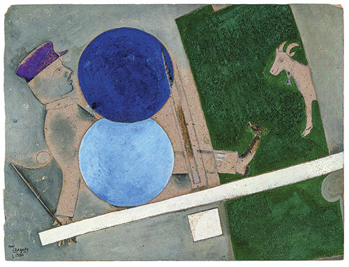 Painting of a man, a goat, and two blue circles