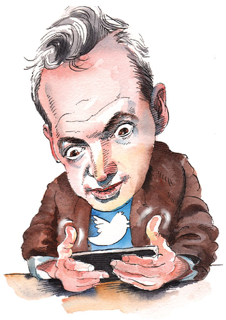 Illustration of a man looking at a cell phone screen with eyebrows raised