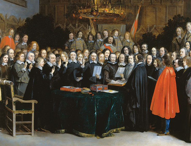 Painting of a group of 17th century men signing a treaty