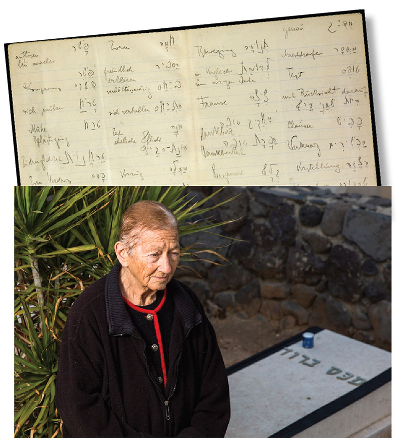 Top image is a handwritten page from Kafka's Hebrew vocabulary notebook, bottom image is a man standing in front of Max Brod's grave