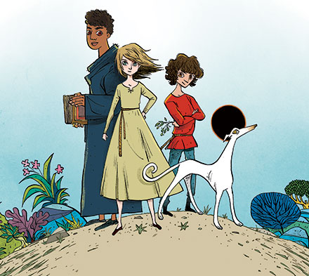 Illustration of three children and a dog on a hilltop