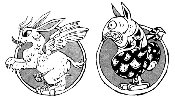 Illustration of two strange characters wo appear to be combinations of animals