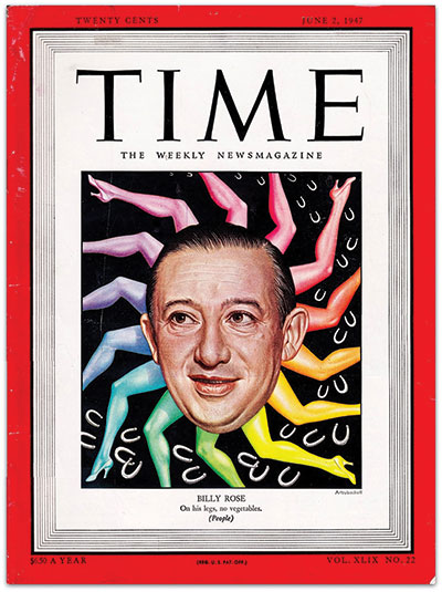A man's face on the cover of Time magazine witha pinwheel of multicolored rainbow legs behind him