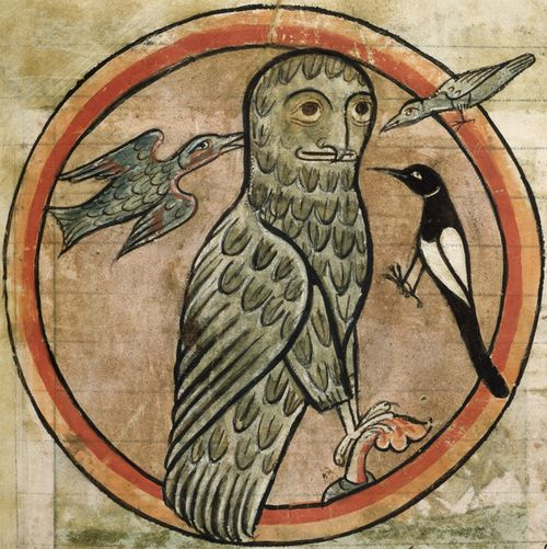 Medieval manuscript showing an owl with a human face surrounded by three other birds.