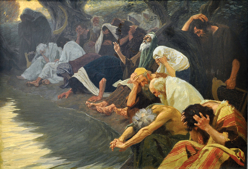 Painting of a group bowing down, heads in hands, at the edge of a body of water