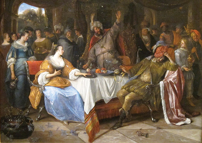 Painting of a group of people gathered around a dining table