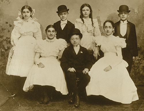 Black and white photo of dressed up young children