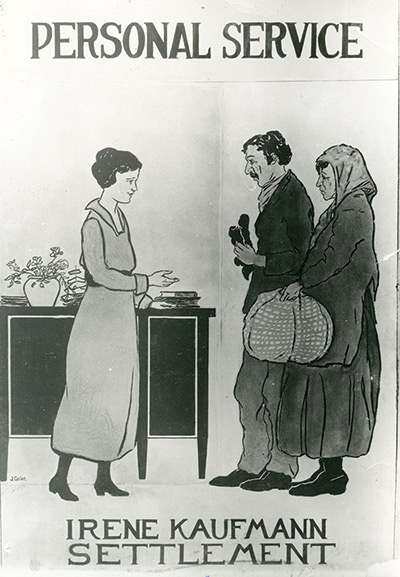 Illustrated poster depicting two immigrants seeking help at the settlement house