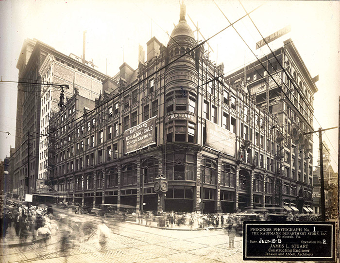 A black and white vintage photo of a large department store