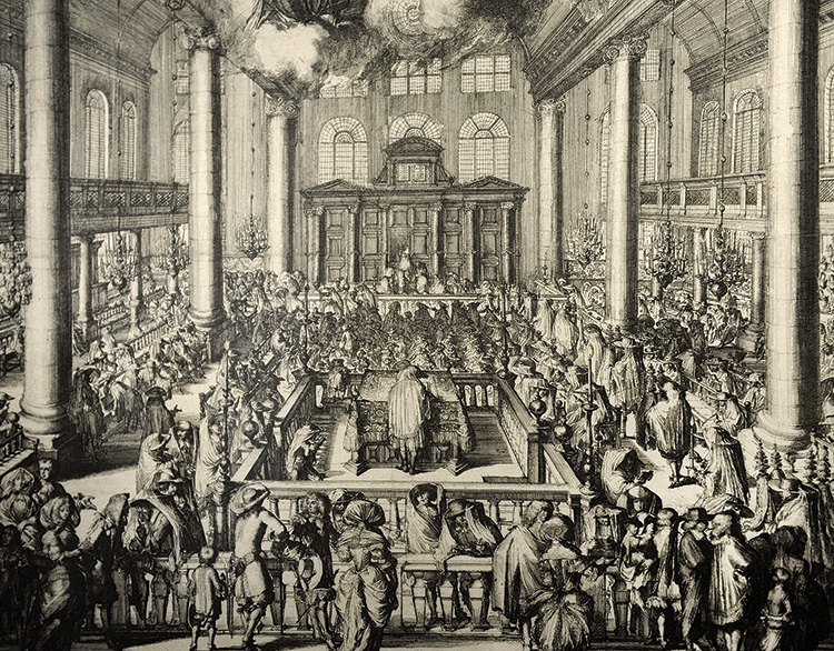 Illustration of the inside of a Portuguese synagogue with many people inside