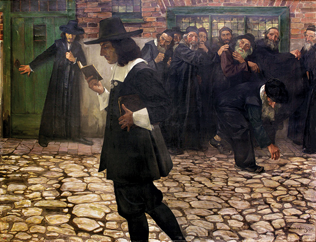 Painting of a man reading a book in the street while people stand back and shun him