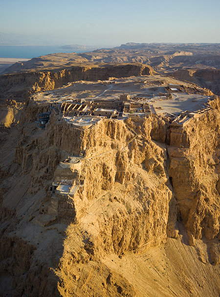 Aerial view of Masada with the Dead Sea in the distance