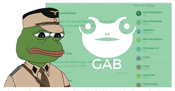An illustrated frog in a Nazi officer uniform next to a frog logo for the website Gab