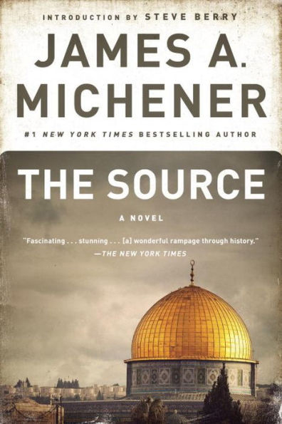 Cover of James A. Michener's novel The Source with an image of the Dome of the Rock.