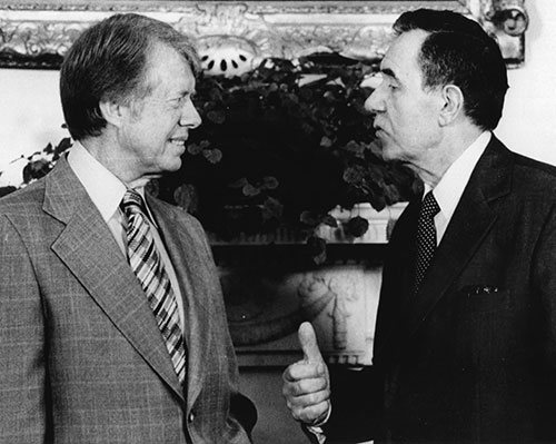 President Jimmy Carter meets with Soviet foreign minister Andrei Gromyko at the White House, September 23, 1977.