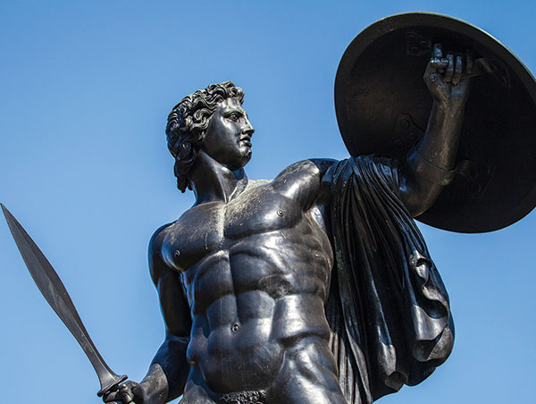 Statue of Achilles by Richard Westmacott, holding shield and sword.