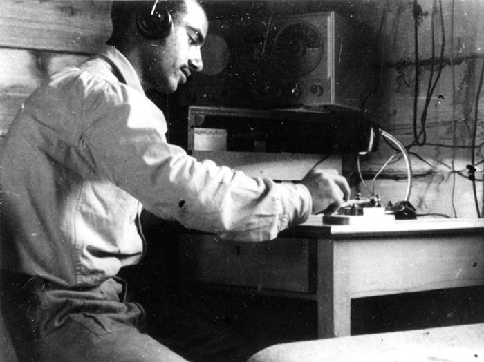 Havakuk Cohen, trained as a radio operator at Morse headquarters, communicating with agents in Beirut. (Courtesy of the Palmach Archive.)