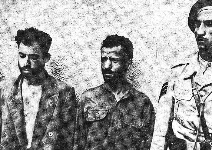 "David ""Dahud"" Mizrahi and Ezra Afgin of the Arab Section after being caught by the Egyptian army in Gaza. (Courtesy of the Palmach Archive.)"