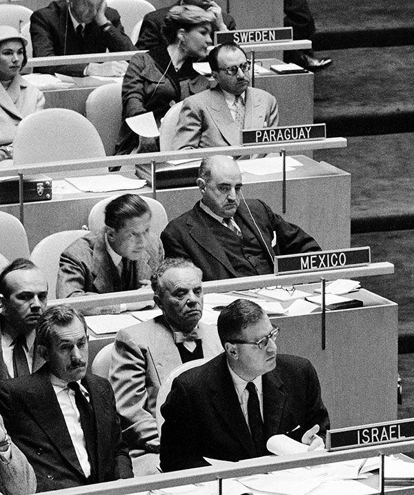 The UN General Assembly adopted a resolution urging an immediate ceasefire in the Middle East, November 2, 1956. Lower right: Abba Eban, Israel's ambassador to the UN; directly behind him is Jacob Robinson. (Courtesy of the United Nations Photo Library.)