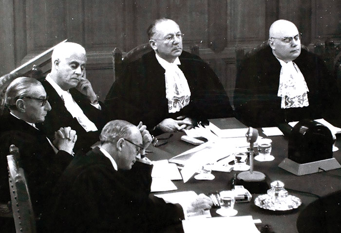 Hersch Zvi Lauterpacht (top center) as a judge on the International Court of Justice, mid-1950s. (Flickr/  Cambridge Law.)