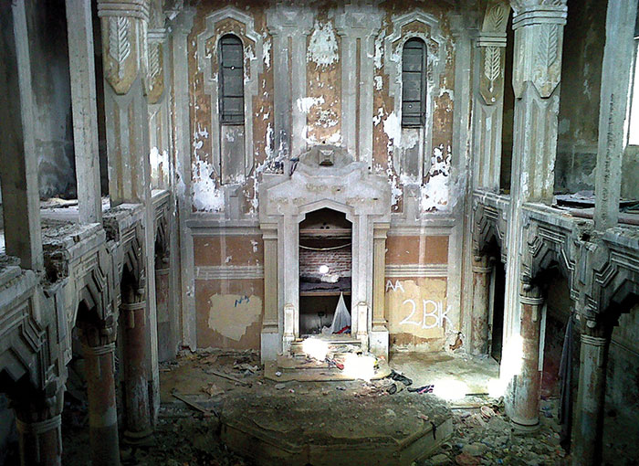 The ruined interior of the Dar al-Bishi synagogue, Tripoli, Libya, May 2011.  (Photo by Diaa Hadid/AP Photo.)
