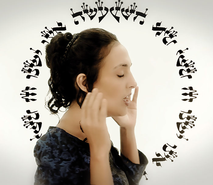 "Victoria Hanna in a still from the video for ""22 Letters."" (Courtesy of Victoria Hanna.)"