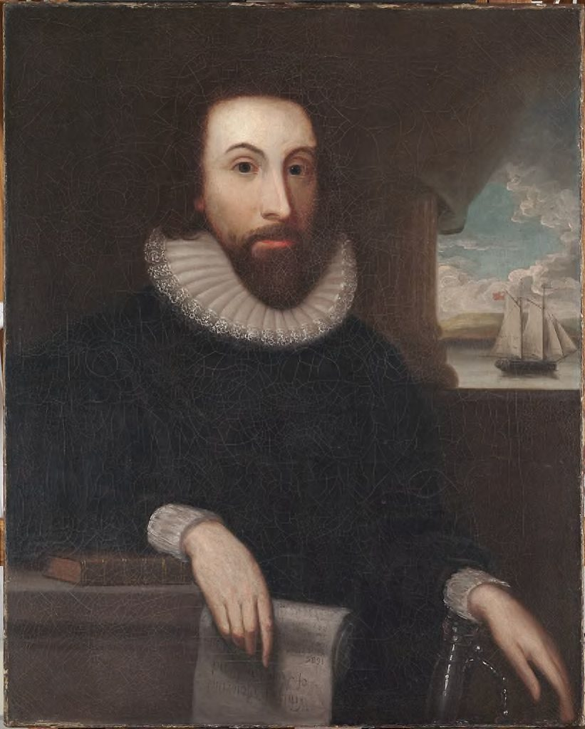Oil painting of a man with a beard and ruffed collar. A ship can be seen out the window behind him.