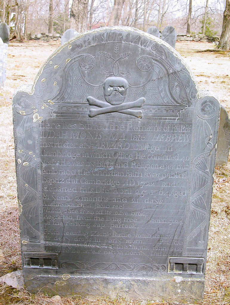Image shows old gravestone topped by a skull and crossbones.