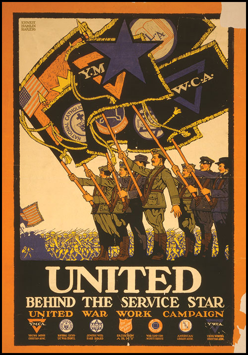 Poster by Ernest Hamlin Baker illustrating the United War Work Campaign, which brought together seven 