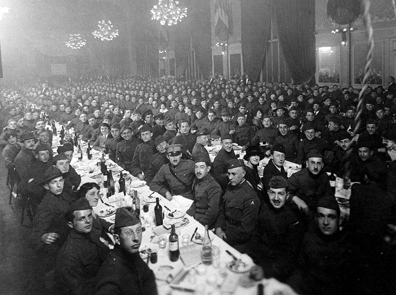 Jewish men in the American Expeditionary Forces celebrate the first Passover Seder, sponsored by the 