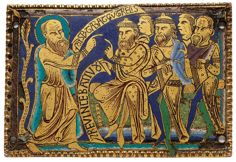 St. Paul Disputing with the Greeks and Jews, copper plaque, ca. 1170–1180. (Victoria and Albert Museum, London.)