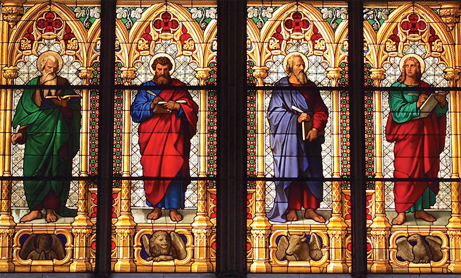 Stained glass window depicting the Four Evangelists, Matthew, Mark, Luke, and John, Cologne 
