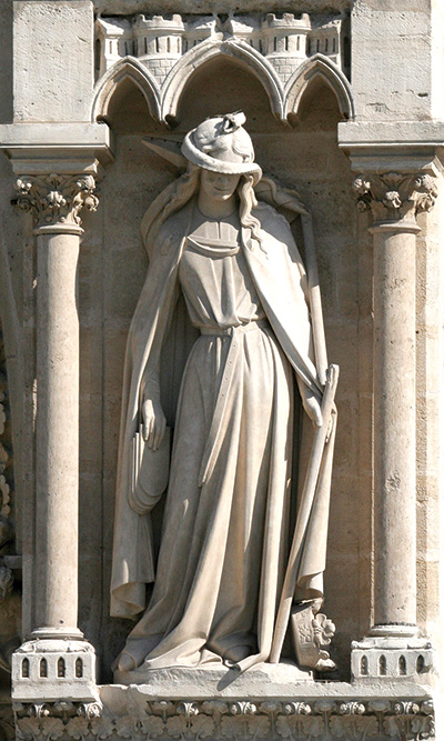 Synagoga depicted on the façade of Notre Dame Cathedral in Paris. (Wikimedia Commons.)