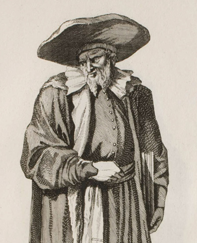 Engraving of Nathan ben Moses Hannover, Jewish chronicler, talmudist, and kabbalist by Christoph Weigel the Elder. (Wikimedia.)