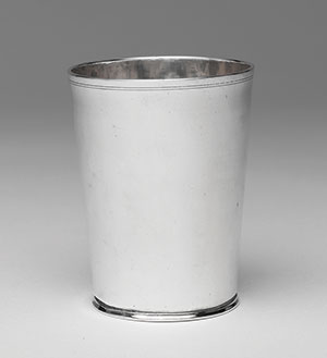A silver beaker, one of a set of six given to Reyna Levy and Isaac Moses at the time of their wedding, August 8, 1770. Made by the silversmith Myer Meyers. (Courtesy of the Metropolitan Museum of Art.)