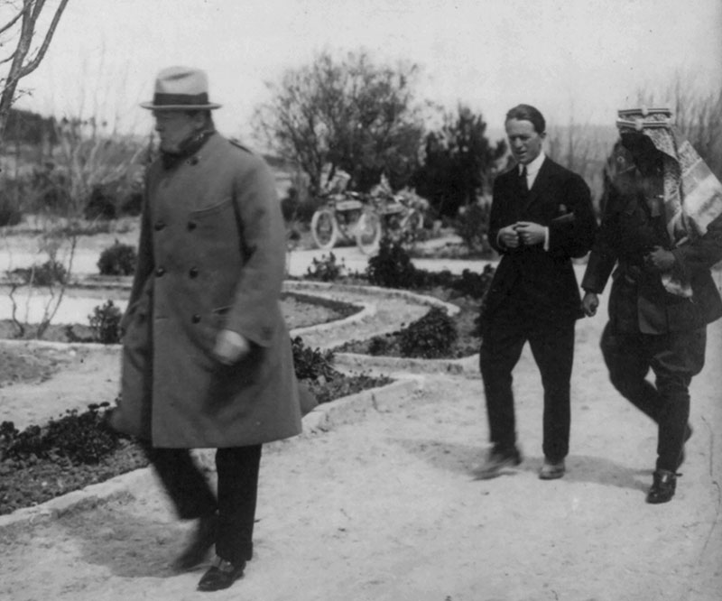 Winston Churchill, T. E. Lawrence, and Emir Abdullah in the gardens of the Government House, Jerusalem, during the secret conference, 1921. (Courtesy of the Library of Congress, Prints and Photographs Division.)