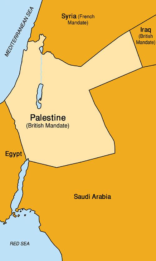 Map of British Mandate of Palestine, 1920s (Wikipedia.)