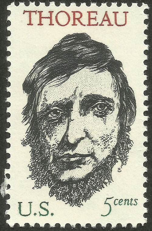 Postage stamp issued in 1967, on the 150th anniversary of the birth of Henry David Thoreau. Designed by the renowned American Jewish artist Leonard Baskin, based on a  photograph from 1845.