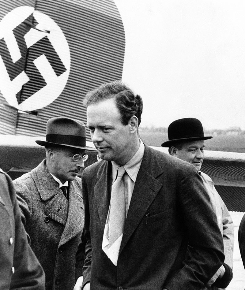 Colonel Charles Augustus Lindbergh as he arrived at the Achgells Airplane Works in Bremen, Germany in a Lufthansa plane on Oct. 18, 1937. While a guest at the works he saw a German helicopter in action. (Associated Press.)