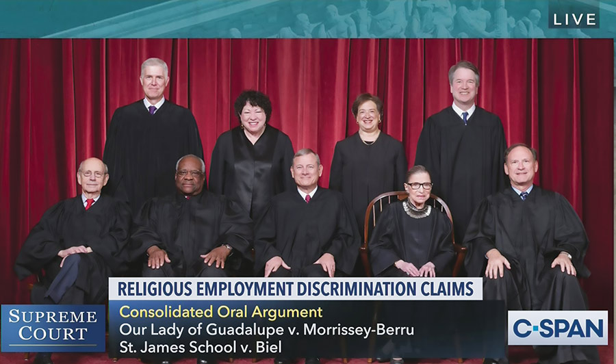 The Supreme Court heard oral arguments via teleconference on religious organization employees and discrimination claims, May 11, 2020. (c-span.org.) Front row, left to right: Associate Justice Stephen G. Breyer, Associate Justice Clarence Thomas, Chief Justice John G. Roberts, Jr., Associate Justice Ruth Bader Ginsburg, Associate Justice Samuel A. Alito. Back row: Associate Justice Neil M. Gorsuch, Associate Justice Sonia Sotomayor, Associate Justice Elena Kagan, Associate Justice Brett M. Kavanaugh.