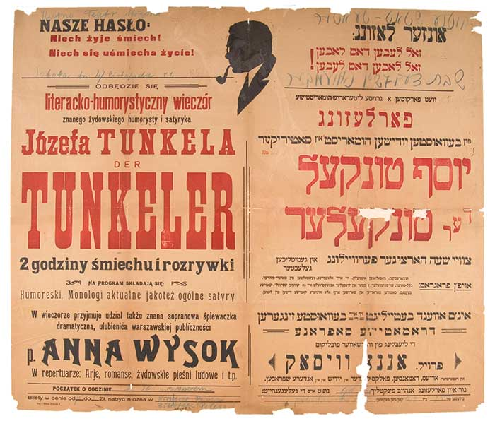 Polish/Yiddish poster advertising an appearance by Yoysef Tunkel (Der Tunkeler), along with singer Anna Wysok,  Kutno, Poland, 1925. (Courtesy of YIVO.)