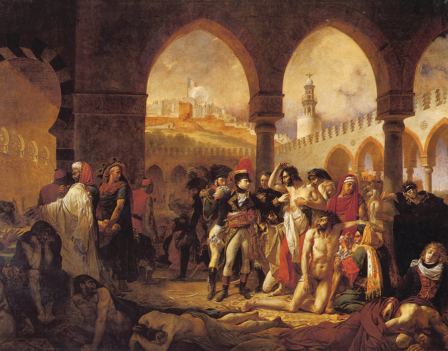Bonaparte Visiting the Plague-Stricken in Jaffa by Antoine-Jean Gros, 1804. (Collection of the Louvre.)