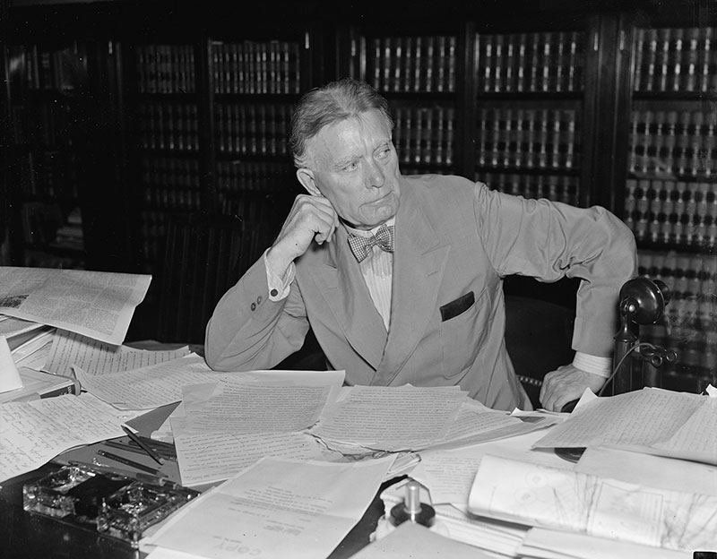 Senator William E. Borah in his office, August 1927, Washington, D.C.  (Courtesy of the Library of Congress Prints and Photographs Division.)