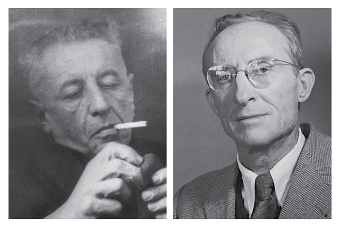 Left: Natan Alterman, 1950s. (Photo by Moshe Milner, National Photo Collection, Israel.) Right: Uri Tzvi Greenberg, 1956.  (Photo by David Eldan, National Photo Collection, Israel.)